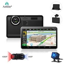 Anfilite H55 7 дюймов емкостный Android Автомобильный gps навигатор четырехъядерный 16 ГБ Автомобильный DVR видеорегистратор две камеры 1080P Запись бесплатные карты