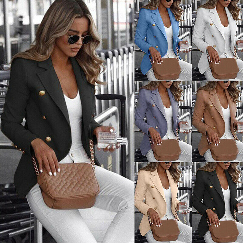 Casual Double Breasted Women Career Formal  Jacket Notched Collar Female Jackets Fashion Suits Outwear 2020 Spring Autumn Coat