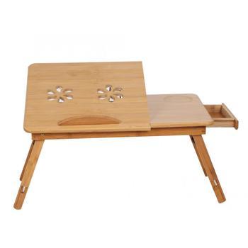 Regulowana półka bambusowa do sypialni łóżka biurko dwa kwiaty czytanie książek stojak na tace w Biurka na laptopy od Meble na