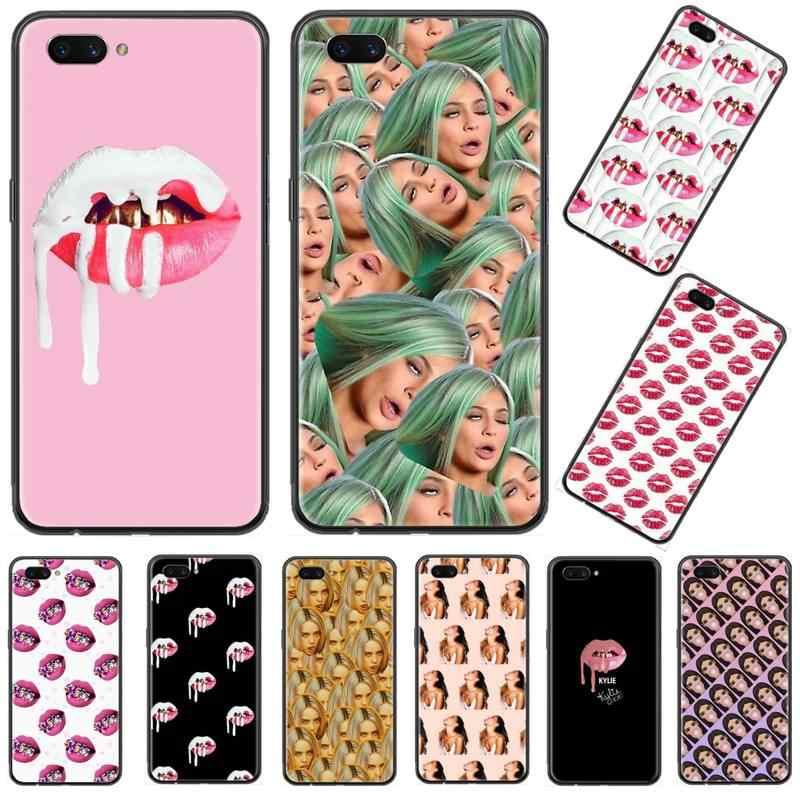 Seksi dudaklar Kelly sevgilisi öpücük siyah TPU yumuşak telefon kılıfı kapak için OPPO F 1S 7 9 K1 A77 F3 RENO F11 A5 A9 2020 A73S R15 REALME PRO