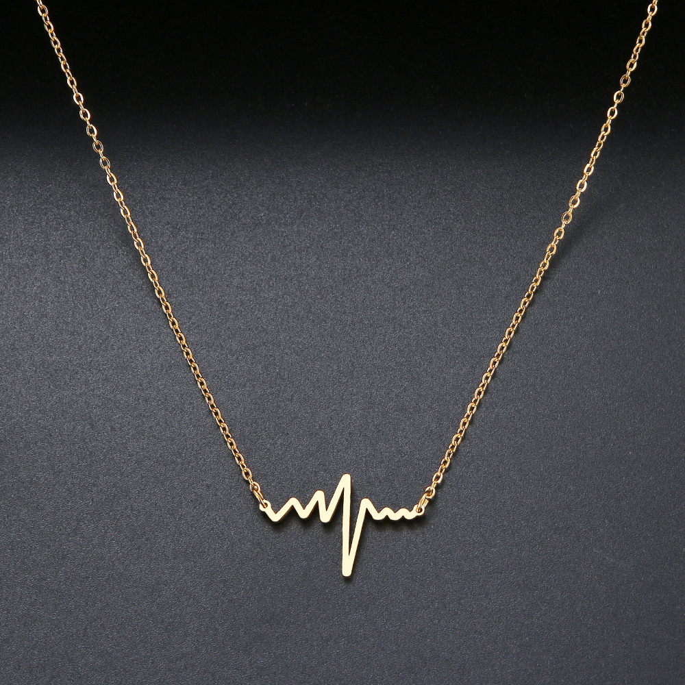CACANA Heartbeat Necklace Women Love Heart Necklaces & Pendants Medical Nurse Doctor Lover Gifts Stainless Steel Jewelry(China)