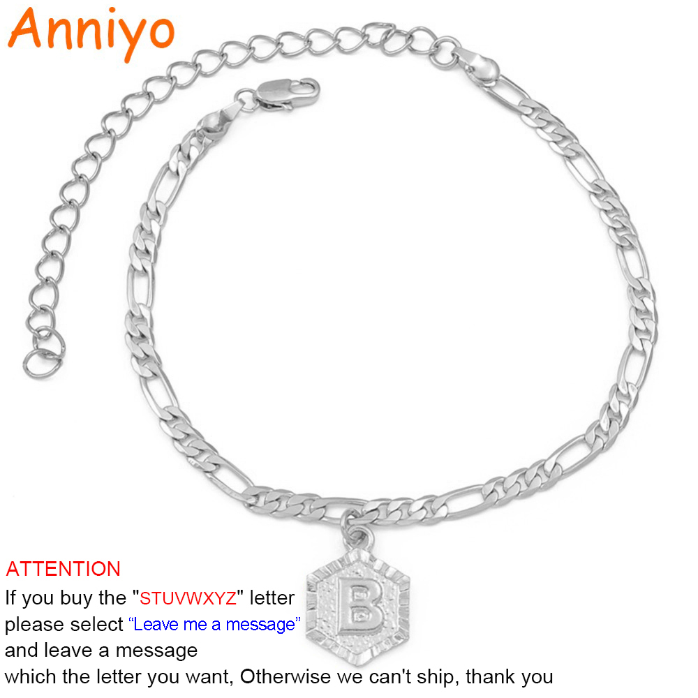 Anniyo 21cm + 9cm Extender Chain A-Z Silve Initial Letter Anklet Women Fashion Alphabet Jewelry Gifts Foot Chain Girl #105906B