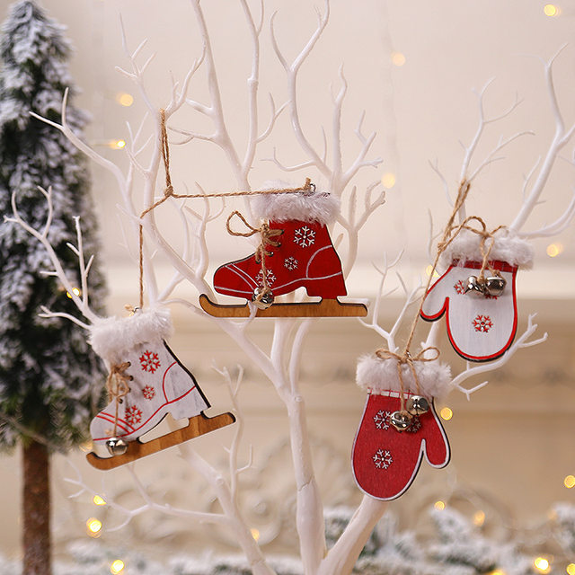 2pcs/set Wooden Snowflake Gloves Sleigh Bells Hanging Pendant Christmas Tree Decoration Ornaments Christmas Decorations for Home 13