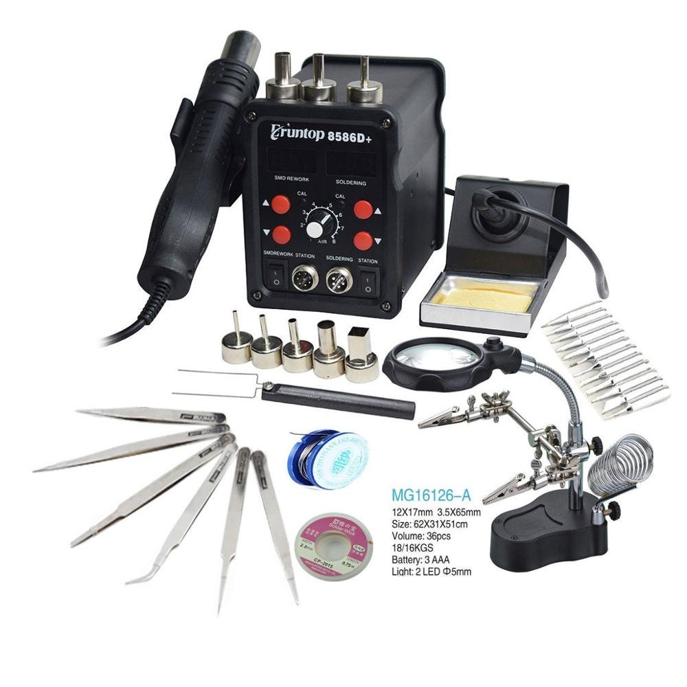 110/220V 750W 2 In 1 SMD Equipment Rework Station Eruntop 8586 8586+ 8586D+  Hot Air Gun + Solder Iron + Heating Element