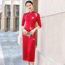 Nueva falda cheongsam de seda de acetato mejorado restaurando maneras antiguas de alto grado tostado la novia siete collar de manga larga