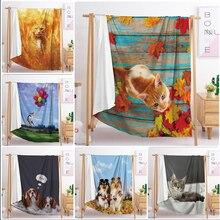 Одеяло на кровать 3d животное плюшевое одеяло шерпа для домашних