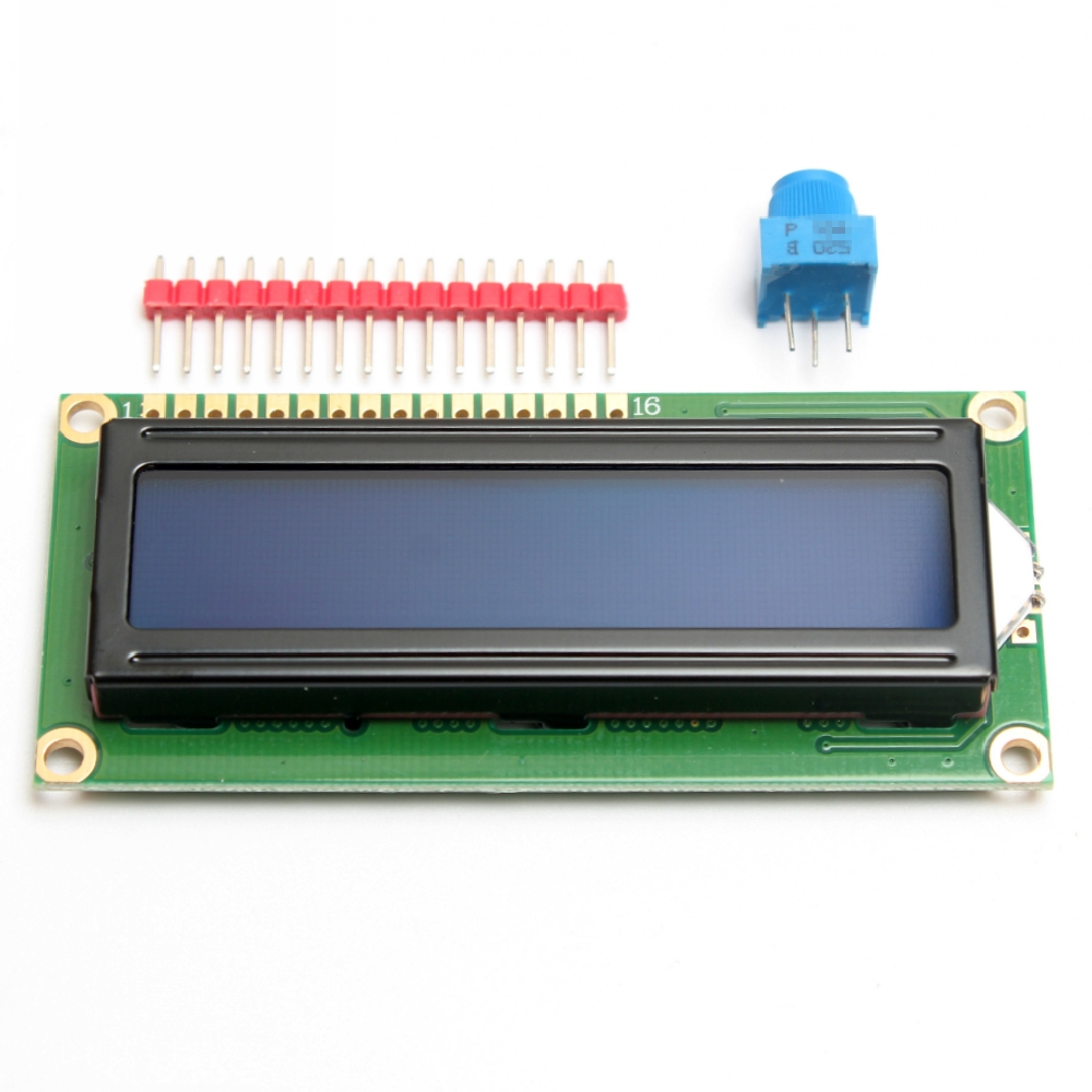 Standard LCD 16x2 LCD Display Module + Extras For Arduino ( Blue Background )