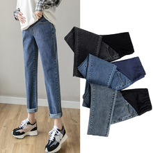 8932# Autumn Spring Denim Maternity Jeans Belly Pants Clothes for Pregnant Women Casual Pregnancy Loose Straight Harem Trousers