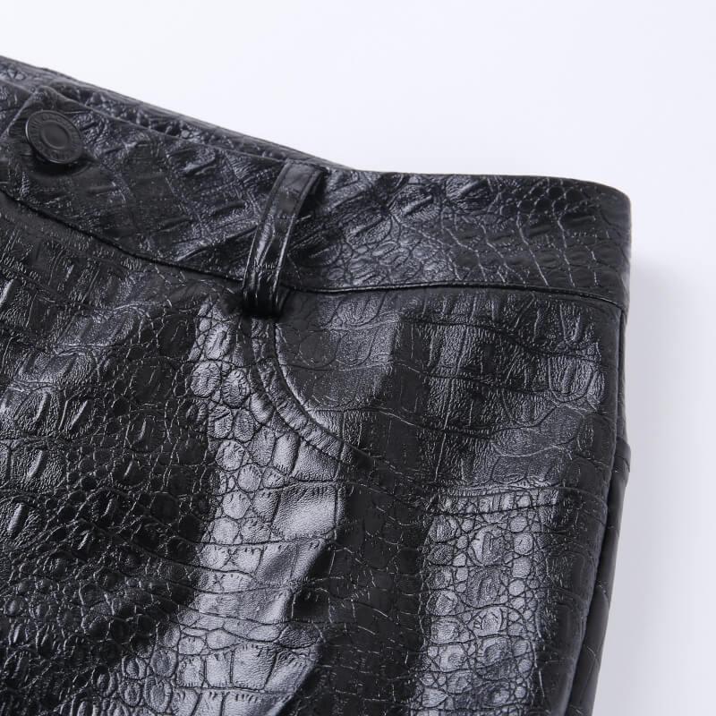 InstaHot Black High Waist Pencil Faux Leather Pants Women Casual Elegant Carving Print Ankle Length Pants Streetwear Trousers 67