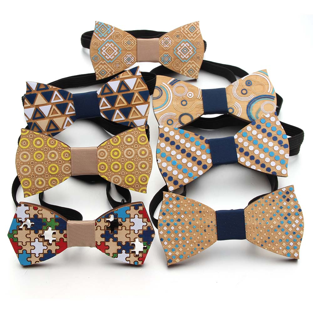 Fashion Wooden Bowtie Gentleman Bow Ties Handmade Color  Pattern Tie Party Bow Ties Butterfly Wooden Unique Tie For Man