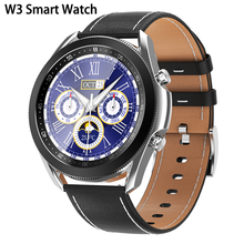 W3 Bluetooth Call Smart Watch Men Full Touch Screen Rotating Bezel Leather Strap Heart Rate Blood Pressure Monitor Sport Watch