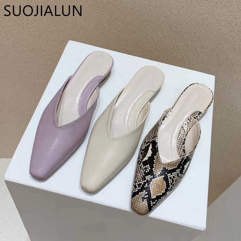 SUOJIALUN Women Slippers 2020 New Spring Elegant Ladies Mule Shoes Round Toe Slip On Slides Shallow Mouth Sandals Slipper