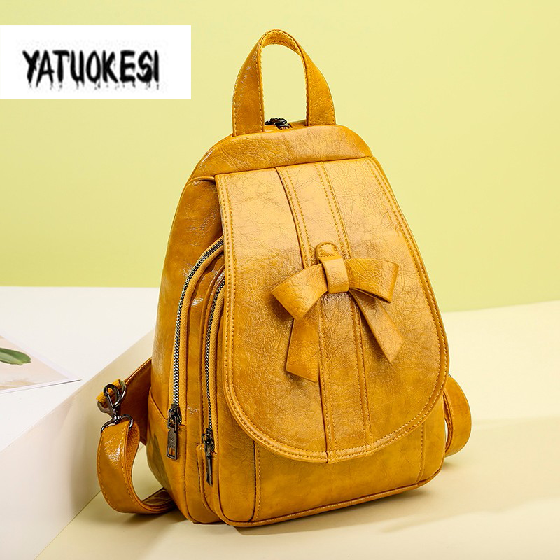 YATUOKESI 2020 Women's Backpack High Quality 3 Use Multifunctional Backpack Bow PU Leather Student School Bag Mochilas Mujer
