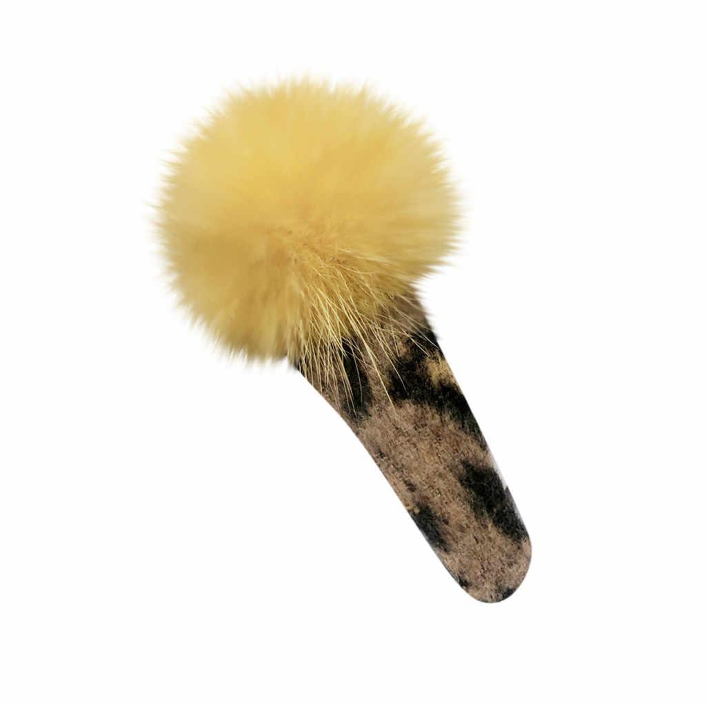 Moda Leopardo de impresión diadema bola Headclip accesorios para mujer niñas horquilla pelo резинки для волос для девочек