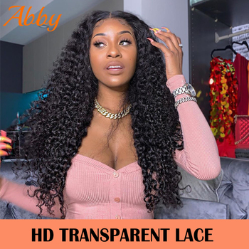 Peruvian Deep Wave Wigs HD Transparent Lace Front Human Hair Wigs 13x6 PrePlucked 150% Density Human Hair Wigs ABBY Hair