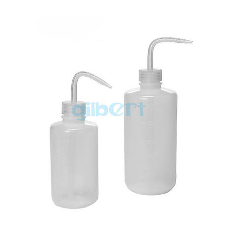150ml 250ml 500ml Plastic PE Squeeze Bottle Tattoo Wash White Bent Tip Clear Labware