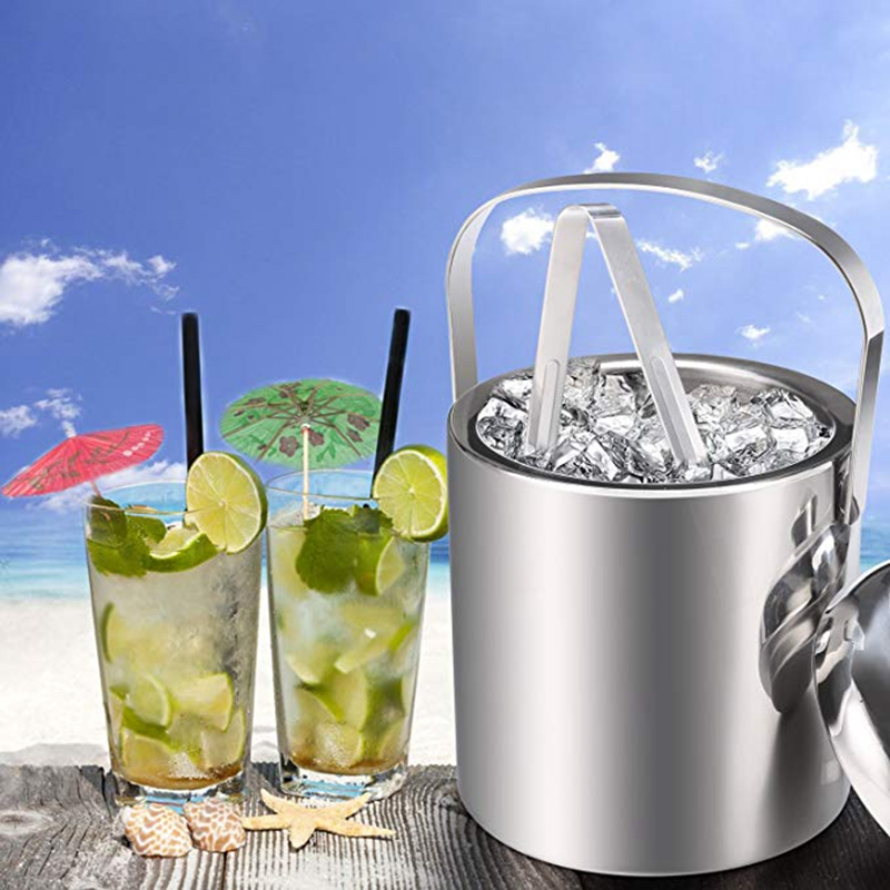 Image 2 - Ice Buckets with Stainless Steel Ice Tongs,Double Wall Ice Bucket with Lid,Silver Ice Wine Chiller for Bar Paties,Ice Buckets foIce Buckets & Tongs   -