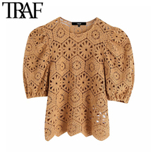 TRAF Women Stylish Hollow Out Lace Blouses Vintage Fashion O Neck Short Puff Sleeve Ladies
