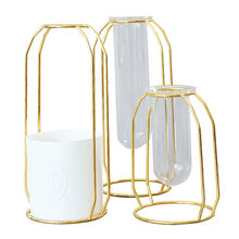 Golden Iron Container Glass Tube Vase Creative Home Living Room Flower Stand Decoration home decor