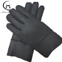 Nowe męskie zimowe rękawiczki ciepłe oryginalne owcze futro rękawiczki dla mężczyzn termiczne futro z kozy kaszmirowe prawdziwe skórzane skórzane rękawice na śnieg instrukcja tanie tanio newowlbie Dla dorosłych Stałe Nadgarstek Moda