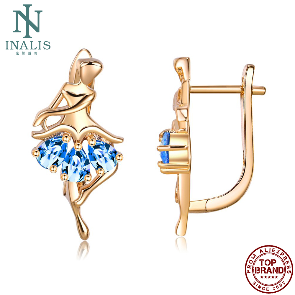 INALIS Earrings For Women Ballet Stud Earring Skirt Shape Blue Cubic Zirconia Romantic Prom Party Fashion Jewelry Wholesale
