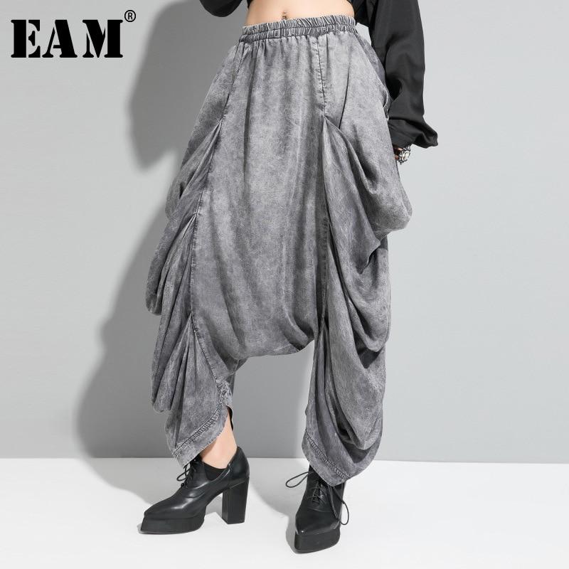 [EAM] High Elastic Waist Black Pleated Split Long Wide Leg Trousers New Loose Fit Pants Women Fashion Spring Autumn 2020 1R619
