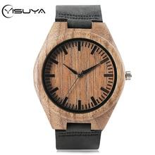YISUYA Men's Natural Wooden Watch Black Leather Watchband Super Light Quartz Wri