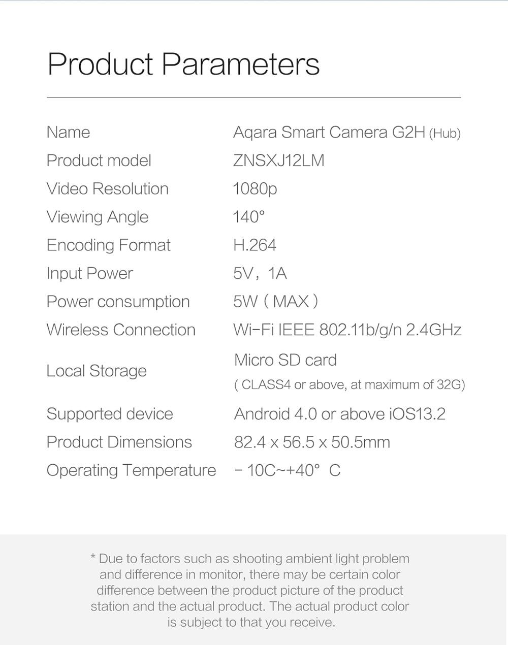 Aqara G2H Smart Camera 1080P Gateway Edition Zigbee Linkage Smart Devices IP Wifi Wireless Cloud Home Security - White Chinese Plug (2-pin)