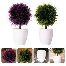 2 предмета декоративный сад бонсай растения в горшках горшок дома карликовые деревья Декор (фиолетовый + зеленый)