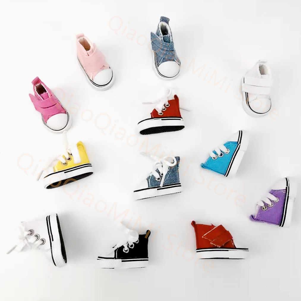 1/6 accesorios de muñeca BJD zapatos de muñeca 5cm de alta lona BJD hermosos colores caramelo zapatillas juguetes para niñas zapatos de moda para muñecas