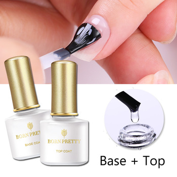 BORN PRETTY No Wipe Top Coat Base Coat UV Gel Long Lasting Nail Gel Shiny Sealer  Set Soak off Top Base Nail Varnish недорого