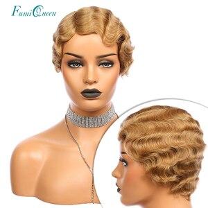 Image 1 - Pixie Cut Parrucca di Remy del Brasiliano Dei Capelli Umani Parrucche Dito Onda Ali FumiQueen Dei Capelli # 1B /#30 /#27 /# 99J /#2 Fatta a Macchina Parrucca Corta