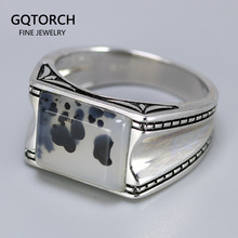 Solid 925 Silver Ring Cool Vintage Men's Rings Aeolus With Natural Stone Original Color Turkish Man Jewelry Bague Argent