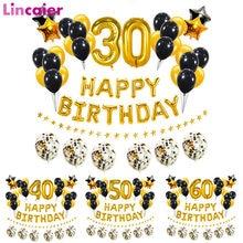 38 pçs ouro preto número 16 18 21 25 30 40 50 60 anos de idade balões feliz aniversário decorações da festa homem adulto mulher suprimentos