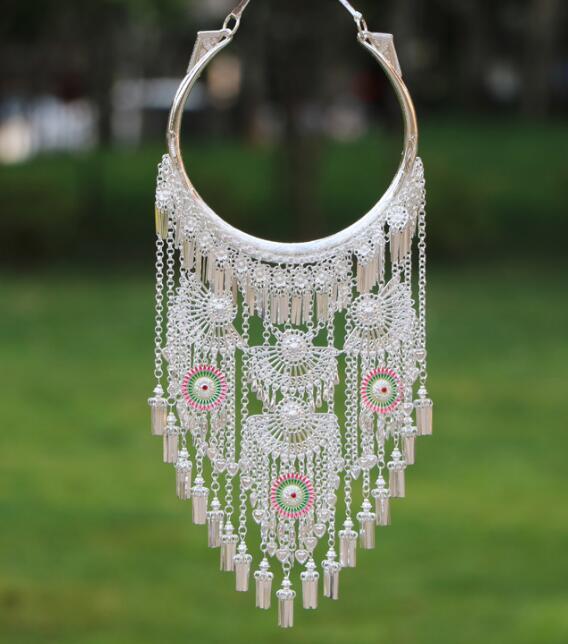 Collier traditionnel Miao, Hmong, bijoux de mariage, avec pompon pour femmes
