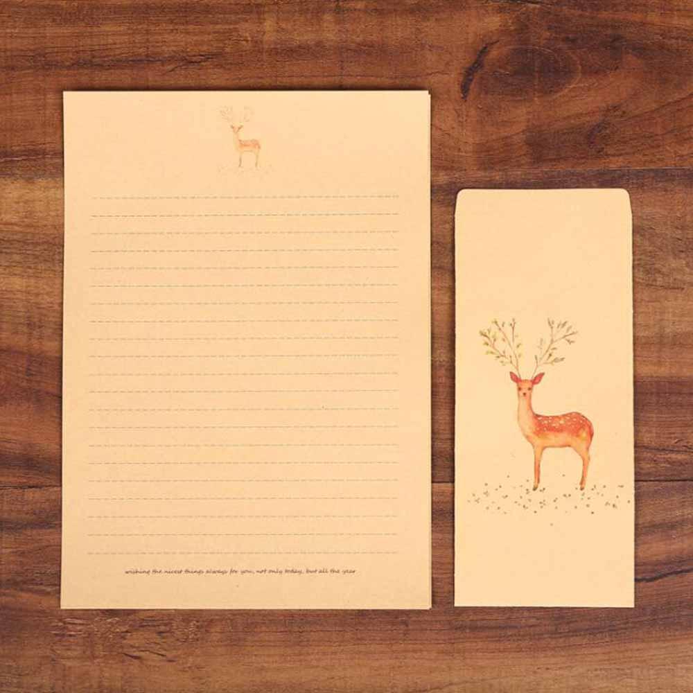 XRHYY 6 шт., винтажная бумага для письма с оленем и конвертами, ретро набор, крафт-бумага для письма, винтажный набор бумаги с буквами - Цвет: Set1