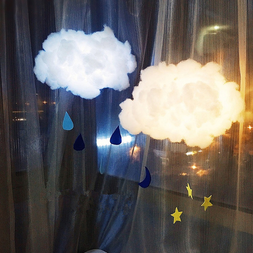 2m DIY Handmade Cute Cotton Cloud Shape Light Hanging Night Light For Birthday Gift Home Bedroom Decor Drop Shipping Sale