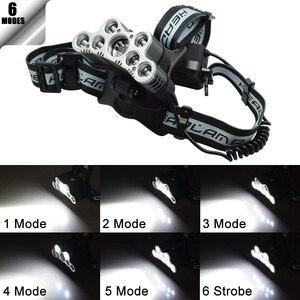 Image 4 - Mạnh Mẽ 9 LED Đèn LED Cổng USB 25000 LM XML T6 Q5 Led Đèn Pin Trán Ánh Sáng Trước Đèn Pin 18650 Đèn Pha + cáp USB