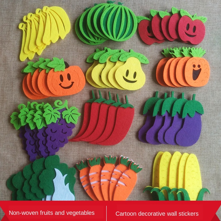 XICC Fruit Vegetables Cartoon Mixed Design Felt Craft Non Woven Patch Applique DIY Felt Pad Kindergarten Decoration Wall Sticker