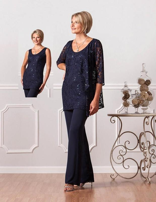 Mother Of The Bride Suits Pants Jacket Long Sleeves Three Pieces Plus Lace Appliques Floor Length Mother Of The Bri