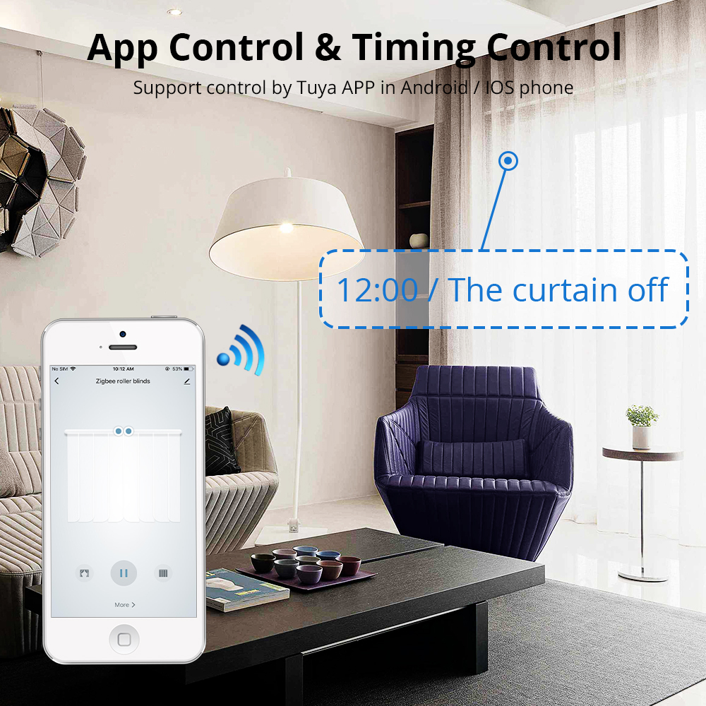 Clearance SaleZemismart Wifi Curtain Track Motor Echo-Control Tuya Remote-Alexa Customized with RF