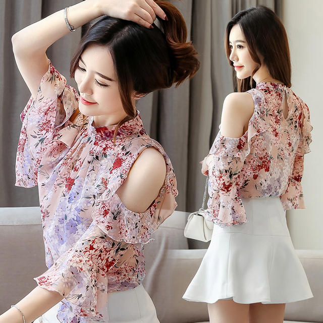 Korean Blouse Women Clothing Shirt Ladies Tops Floral Chiffon Ruffles Stand Butterfly Sleeve Blusas Hollow Female Tops Plus Szie 5