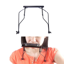 Hot 10 holes black beginner portable simple harmonica neck holder adjustable mouth organ stand harp harp metal rack