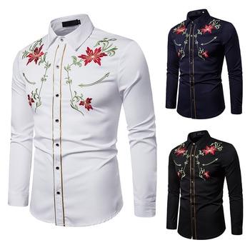 Men's Fashion Shirts Embroidered Shirt Chinese Style Long Sleeve Shirts Flower Shirt Autumn Clothes For Young Men flower embroidered long sleeve ruffled top