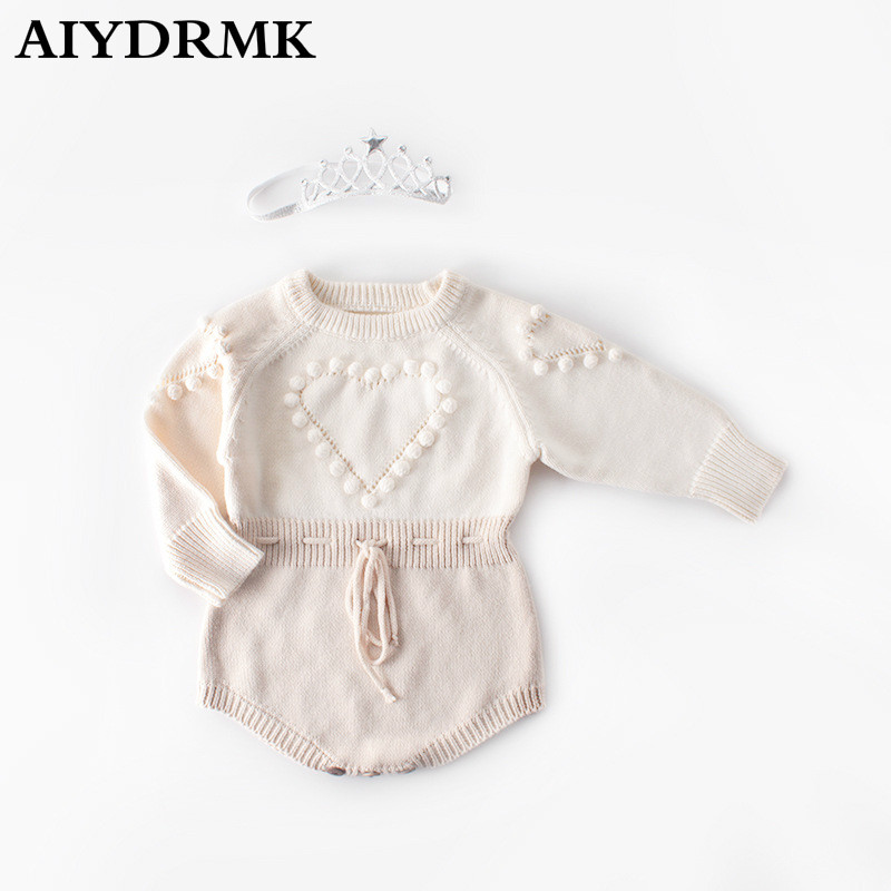 Knitted Baby Clothes Newborn Baby Girl Romper Cute Heart Pompom Infant Baby Boy Romper Baby Jumpsuit Onesie Overalls with Crown image