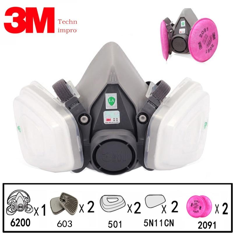 9 en 1 3M 6200 industrie demi visage peinture Spray gaz masque respirateur protection sécurité travail poussière preuve respirateur masque avec filtre