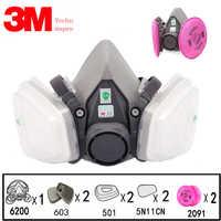 9 w 1 3M 6200 przemysł pół farba do twarzy w sprayu maska gazowa Respirator ochronne odporne na kurz maska do ochrony dróg oddechowych z filtrem