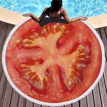 Fruit Watermelon Printed Round Beach Towel Tassels Summer Microfiber Swimming Bath Picnic Yoga Mat Blanket Tapestry 150cm