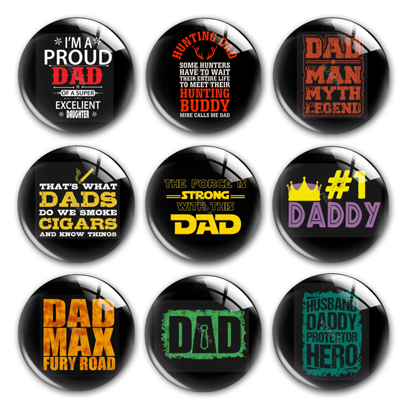 Happy Father's Day Glass Cabochon,Love Dad Best Dad Papa Superdad Round Photo Glass Cabochon Demo Flat Back Making Findings