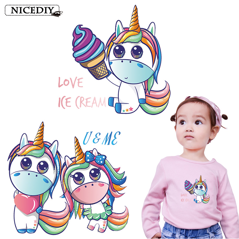 Nicediy Ice Cream Unicorn Patches Heat Transfer Vinyl Sticker For Kids Iron On Transfers Clothes Thermal Washable